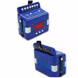 Acordeon Azul Infantil 7 Botones Notas 2 Bajos