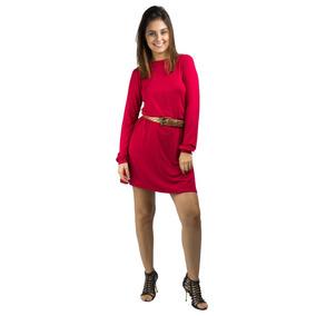 Vestido Banna Hanna Visco Com Aplique Em Renda Vermelho