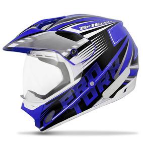 Capacete Fechado Pro Tork Th1 Vision Adventure Azul E Branco
