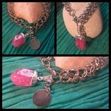 Pulsera Tejido Medieval Piedra Cuarzo Estallado Rosa