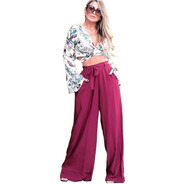 Calça Feminina Forrada Elastico Soltinha Elegante Premium