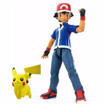 Boneco Pokémon Xy Ash Mochila + Pikachu Trainer Figure Tomy