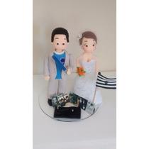 Casal Noivinhos De Biscuit Casamento Topo De Bolo-promoção