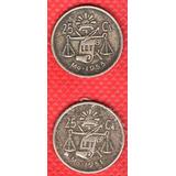 Moneda Mexicana Plata 25 Cen Balanza Platina Azul P154