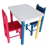 Mesa Infantil Colorida De Madeira Com 2 Cadeiras Carlu Puff