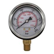 Manômetro Pressão Hidráulico 250 Bar 3500 Psi R 1/4 Npt