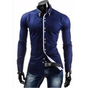 Camisa Social Manga Longa Tamanho Xg XG Masculinas Azul marinho no ... 6d78decb7b8e9