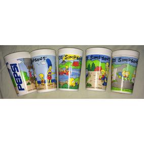 Lote 5 Copos Pepsi Simpsons Vintage Anos 90 Colecao Raridade