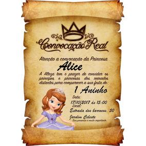 Convite Pergaminho Princesa Sofia - Promoção