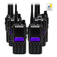 Kit 6 Rádio Comunicador Baofeng Uv-82 Dual Band Rádio Fm