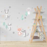 Vinilo Decorativo Infantil Animales Bosque Nordicos