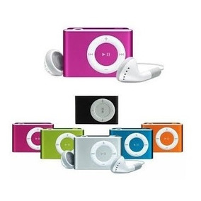 Mini Mp3 Player Shuflle Com Fone, Entrada Micro Sd Cabo Usb