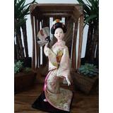 Muñeca Japonesa De Cerámica Geisha Kimono Grande