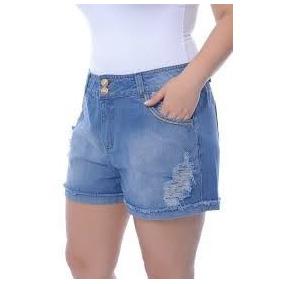 Kit C/2 Short Bermuda Jeans Plus Size Feminino Até 52 Lycra