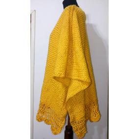 Ruana Corta Tejida Telar Crochet Lana Merino
