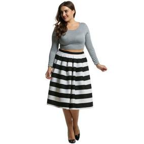 *fashionstore* Faldas Midi Tallas Plus Estampadas Plus01