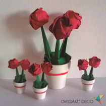 5 Centros De Mesa + 40 Souvenir * Rosas Origami C/maceta! *