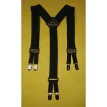 Tirador Pantalón Suspenders Doble Pinza Madison Negro 4cm