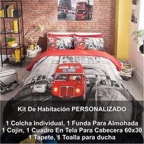 Kit Habitacion Colcha,tapete,toalla,cuadro Personalizado