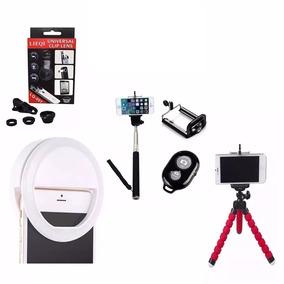 Kit Led Flash + Kit Youtuber Tripé Bastão Selfie Ring Top