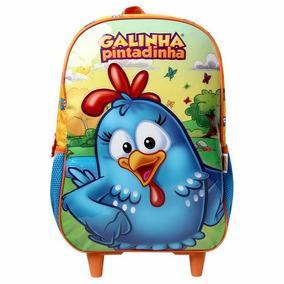Mochila De Carrinho Escolar Infantil Galinha Pintadinha