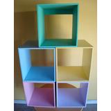 Cubos De Fibrofacil Pintados 30x30x30