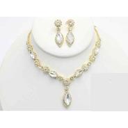 Collar Con Arete Flores Y Gotas  Cafu407-03 A20