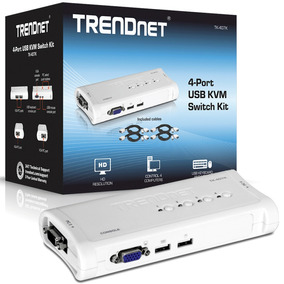 Kvm 4 Puertos Usb Trendnet Tk-407k Vga Conmutador Con Cables