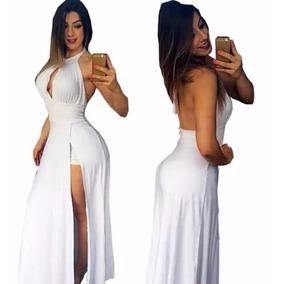 Vestido Longo Com Short Embutido Fenda Bojo Reveillon
