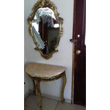 Antigua Coqueta Con Espejo. Talla En Cedro. Hoja De Oro