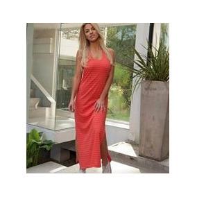 Vestido Largo Talle L O 3 Color Fuscia/coral Rayado