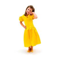 Vestido Fantasia Princesa Bela Fera Menina Infantil Luxo
