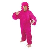Disfraz Para Adulto Gorila Fuzzy Rosado Talla Única -