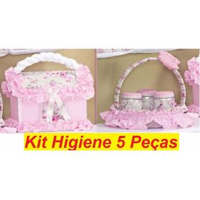 Kit Higiene Bebê Quarto De Menina Rosa - Acessórios 5 Peças