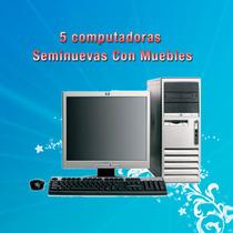 Paquete Ciber Cafe 5 Computadoras Con Muebles + Regalos