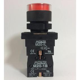 Botão Pulsador Ilum P20ifr-r7-1c Vermel 24v Na+nf - Metaltex