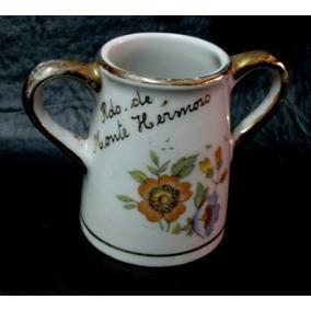 Antiguo Mate Jarrito Recuerdo De Monte Hermoso En Porcelana