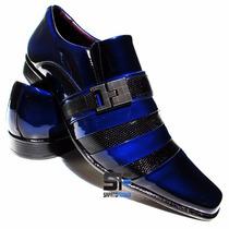 Sapato Social Masculino Verniz Azul Lançamento Em Couro