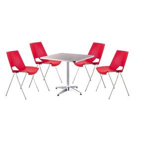 Mesa De Aluminio Con 4 Sillas Strike. Color Rojo