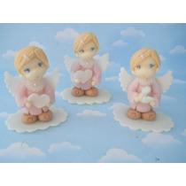 10 Souvenirs Angelitos En Porcelana Fria. Bautismo. Tortas