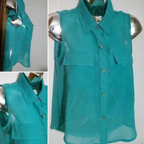 Camisa Blusa Tela Tipo Cola De Sirena Transparente Talla S