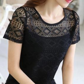 Blusa Coreana Con Encaje En Pecho Y Mangas Moda Oriental