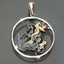 Medalha São Jorge Em Prata 925 + Folheado Ouro Masculino