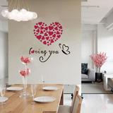 Espejo Acrílico 3d Pared Corazón Amor Decor Sticker, Love