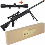 Airsoft Rifle Sniper Mb13b + Luneta Rossi 4x32 + Bipé Tático