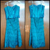 Vestido De Fiesta Noche Largo Color Azul Eva Brazzi Corset