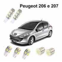 Kit Lampadas Led Peugeot 206 E 207 Teto/farol/placa/ré