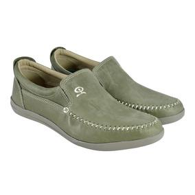 Zapato De Hombre Náutico Cuero Verde Envejecido