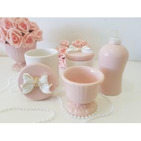 Kit Higiene Bebe Porcelana Rosa Seco Laço