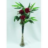 Arranjo D Rosas - Vaso Vidro Flores Artificiais Artificial